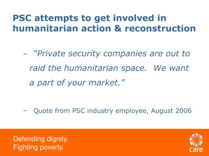 PSC attempts to get involved in humanitarian action & reconstruction
