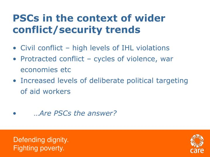 PSCs in the context of wider conflict/security trends