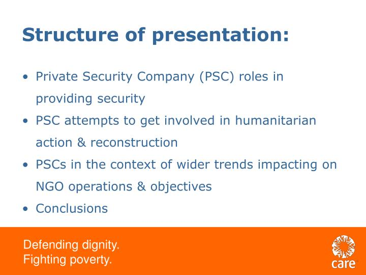 Structure of presentation: