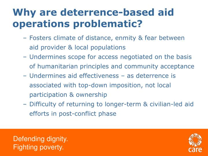 Why are deterrence-based aid operations problematic?