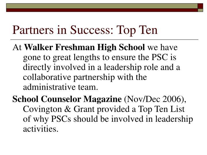 Partners in Success: Top Ten