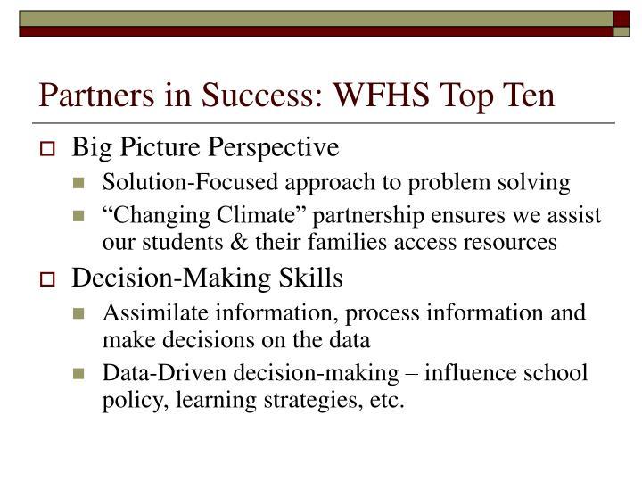 Partners in Success: WFHS Top Ten