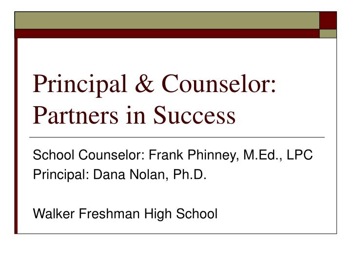 principal counselor partners in success