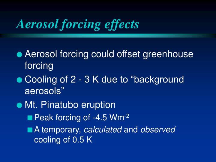 Aerosol forcing effects