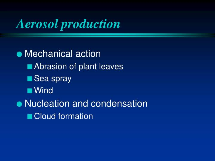 Aerosol production