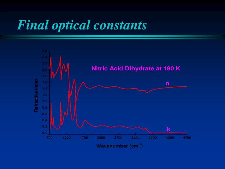 Final optical constants