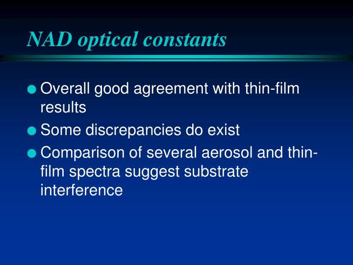 NAD optical constants