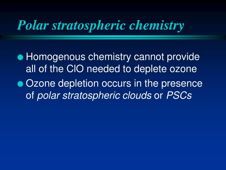 Polar stratospheric chemistry