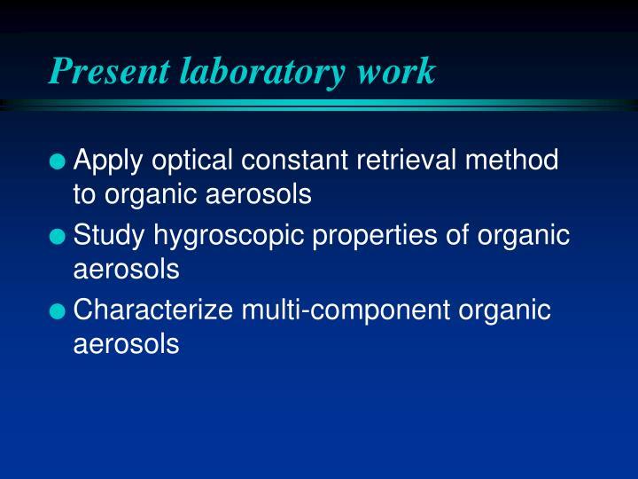 Present laboratory work