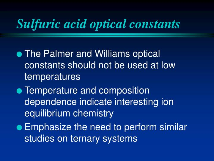 Sulfuric acid optical constants