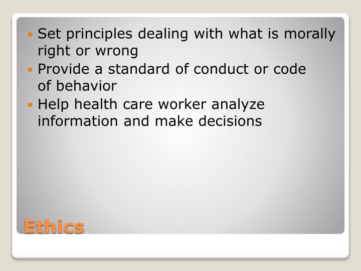 Set principles dealing with what is morally right or wrong