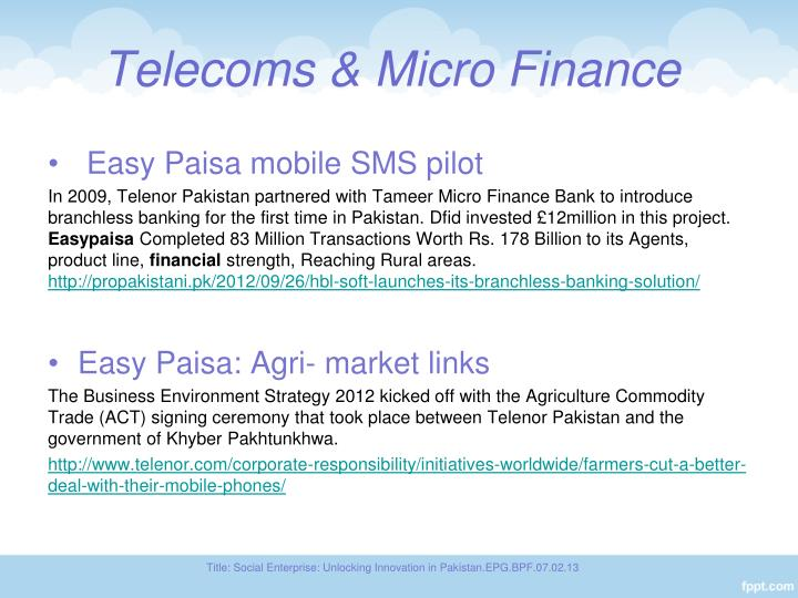 Telecoms & Micro Finance