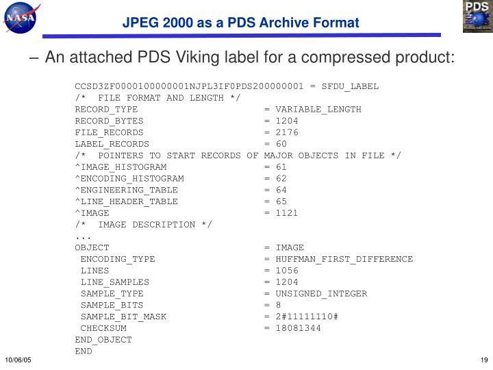 JPEG 2000 as a PDS Archive Format