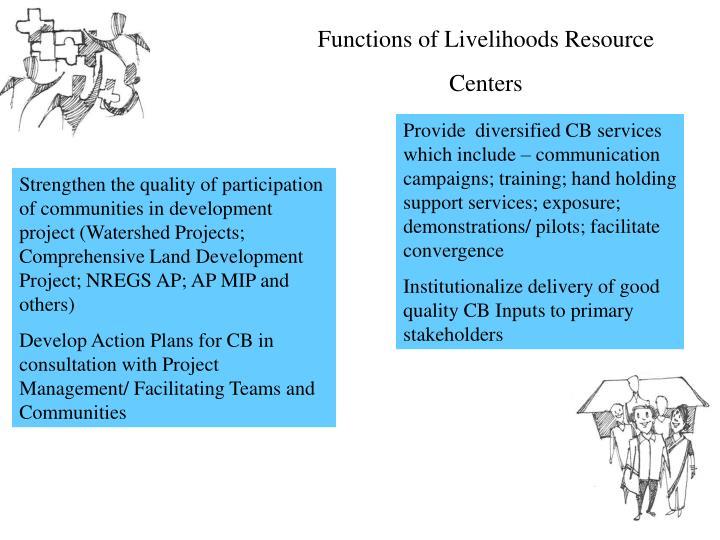 Functions of Livelihoods Resource Centers