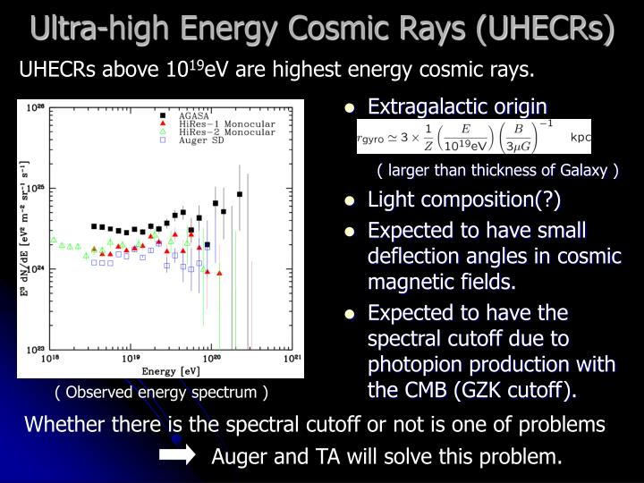 Ultra high energy cosmic rays uhecrs