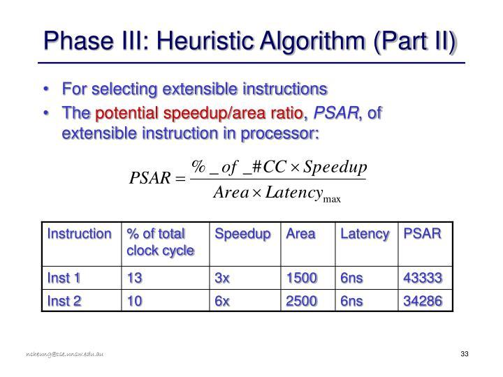 Phase III: Heuristic Algorithm (Part II)