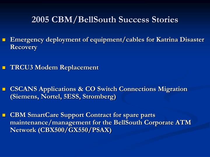 2005 CBM/BellSouth Success Stories