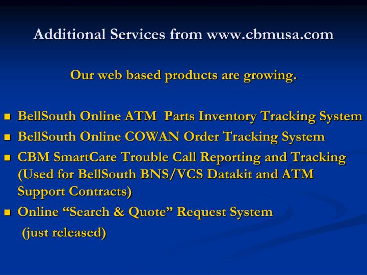 Additional Services from www.cbmusa.com