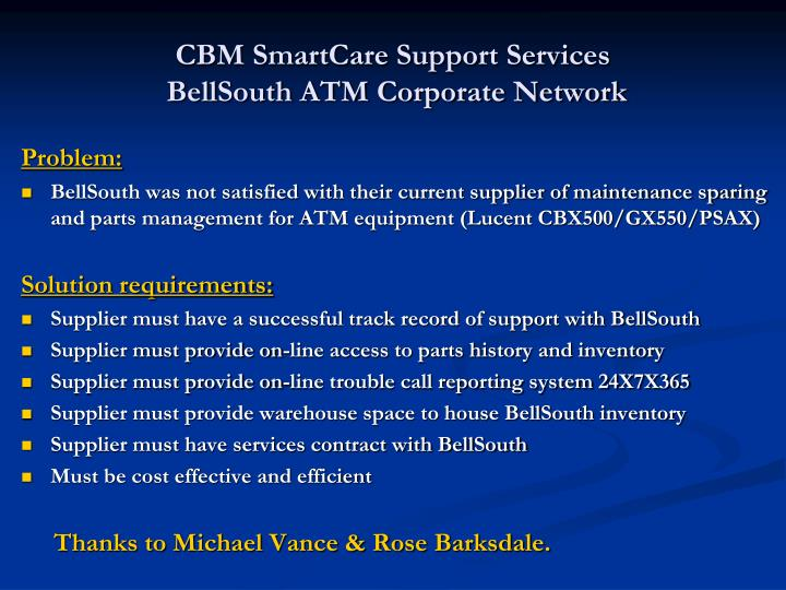 CBM SmartCare Support Services