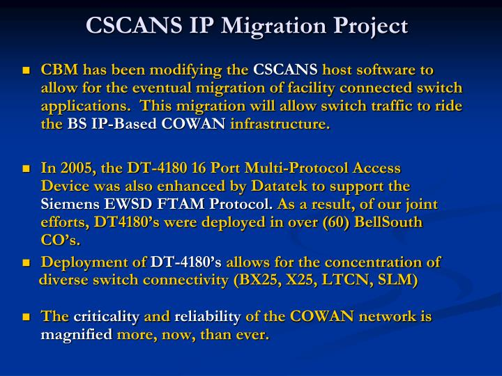 CSCANS IP Migration Project