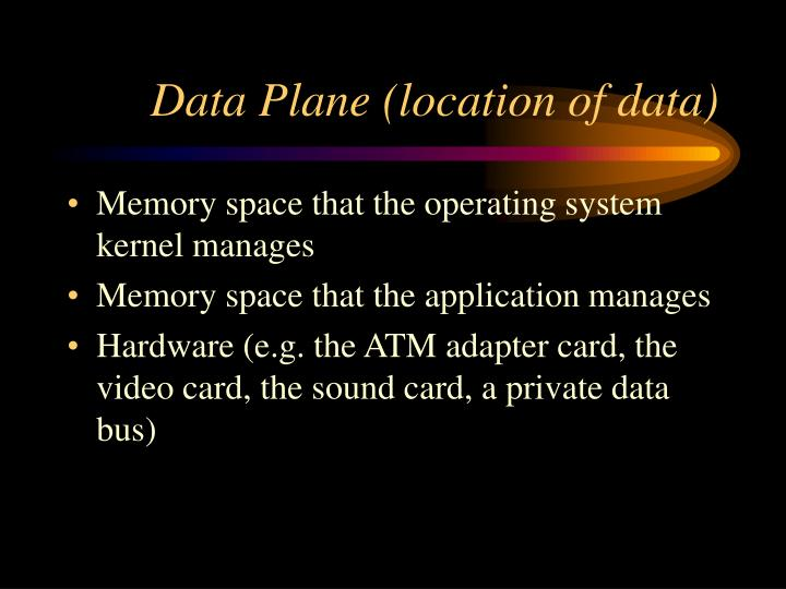 Data Plane (location of data)