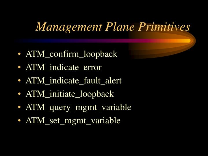 Management Plane Primitives