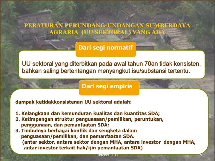 PERATURAN PERUNDANG-UNDANGAN SUMBERDAYA AGRARIA  (UU SEKTORAL) YANG ADA