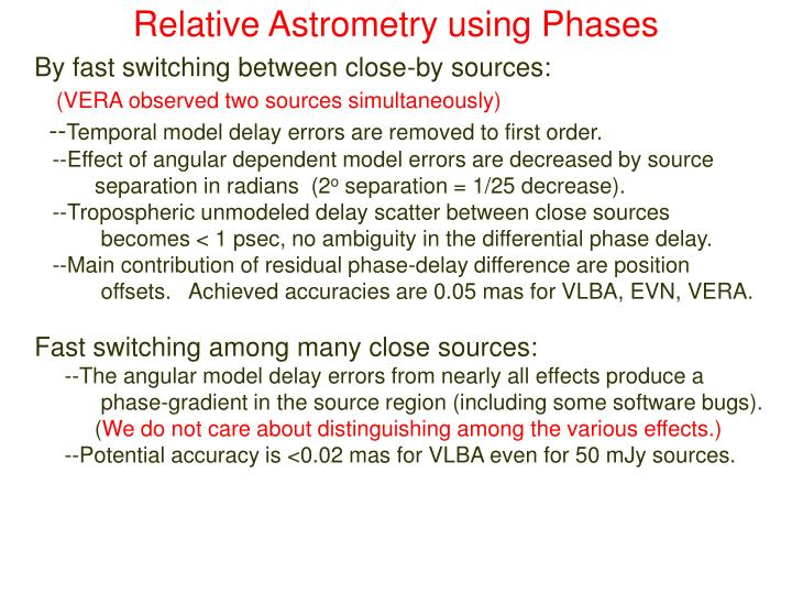 Relative Astrometry using Phases