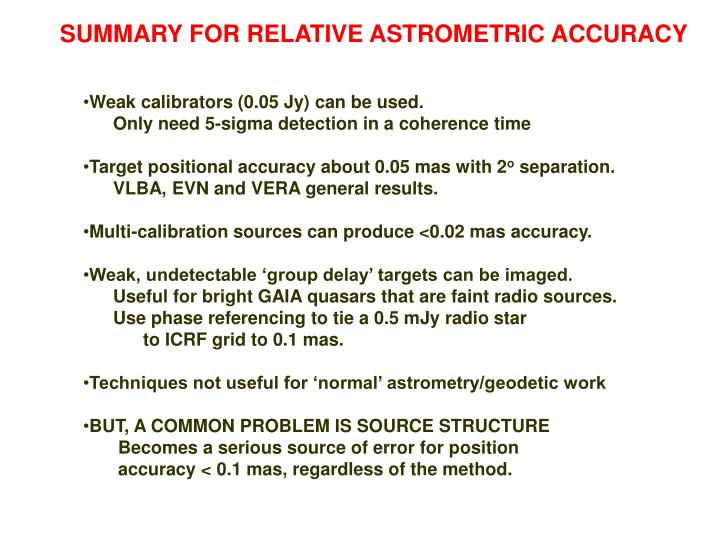 SUMMARY FOR RELATIVE ASTROMETRIC ACCURACY