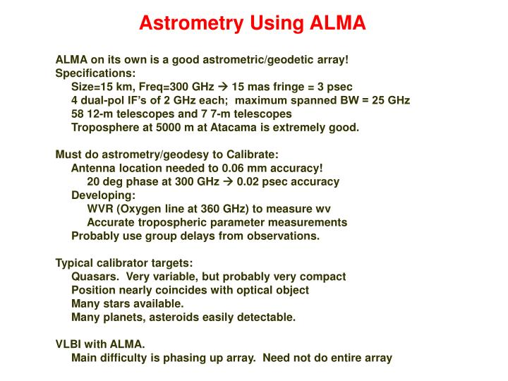 Astrometry Using ALMA