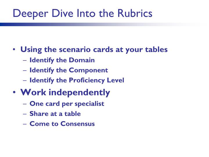 Deeper Dive Into the Rubrics
