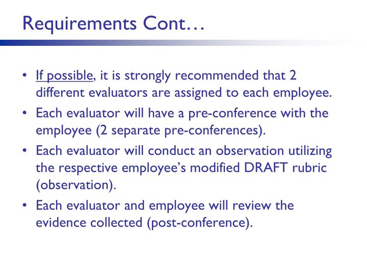 Requirements Cont…