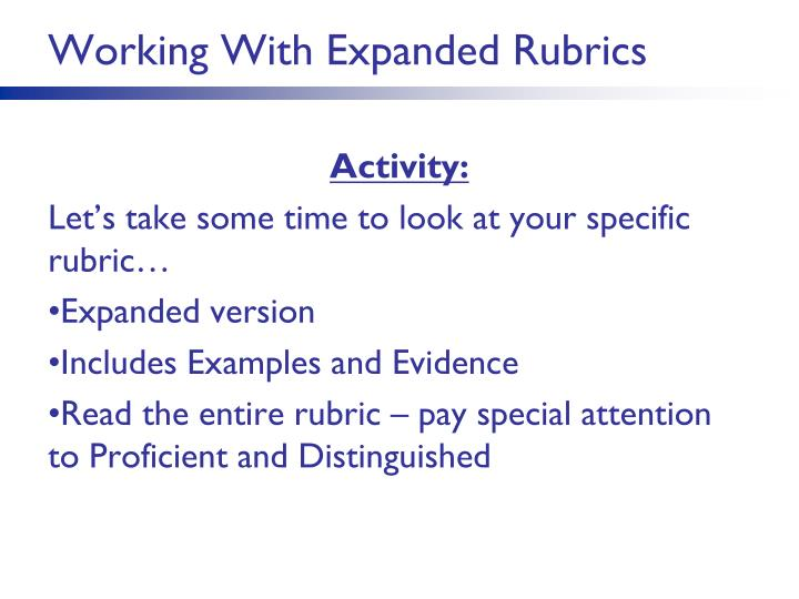 Working With Expanded Rubrics
