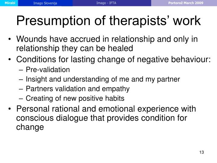 Presumption of therapists' work