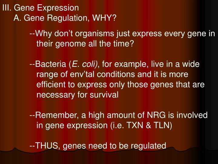 III. Gene Expression