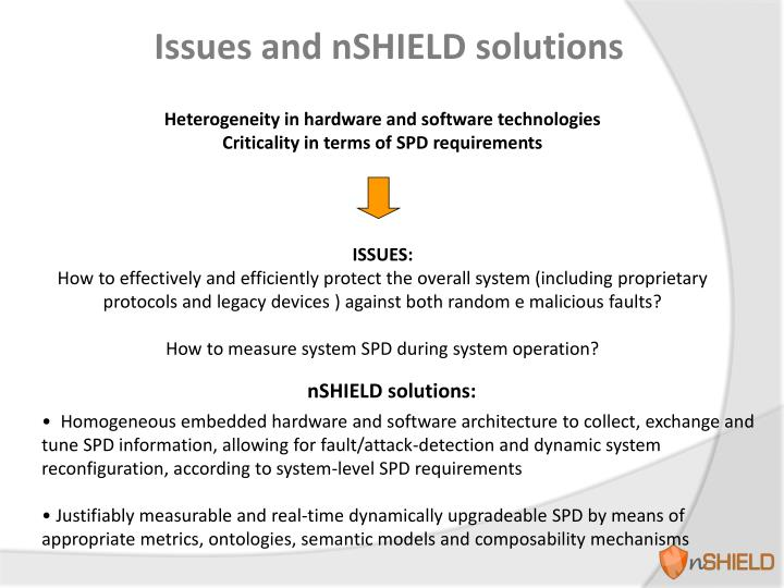 Issues and nSHIELD solutions