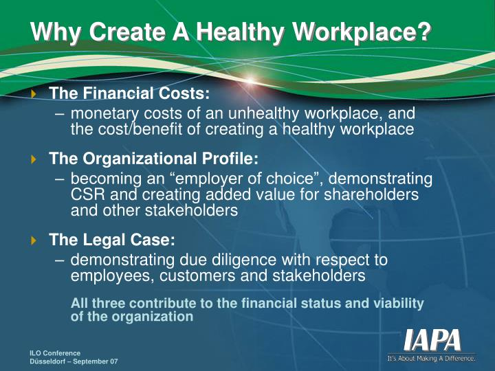 Why create a healthy workplace