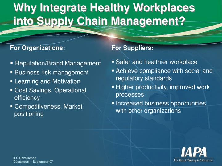 Why Integrate Healthy Workplaces into Supply Chain Management?