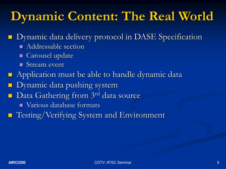 Dynamic Content: The Real World