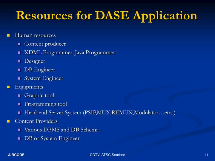 Resources for DASE Application