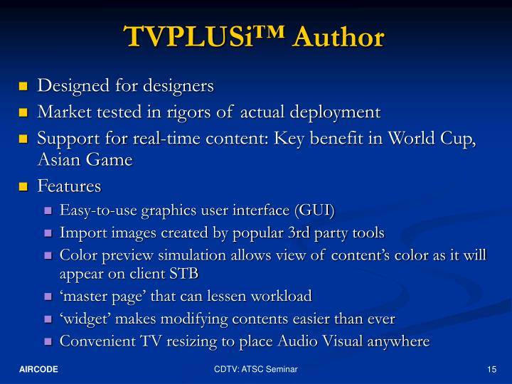 TVPLUSi™ Author