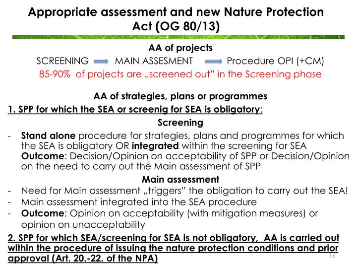 Appropriate assessment and new Nature Protection Act (OG 80/13)