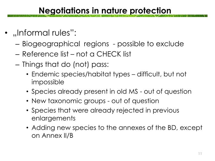 Negotiations in nature protection