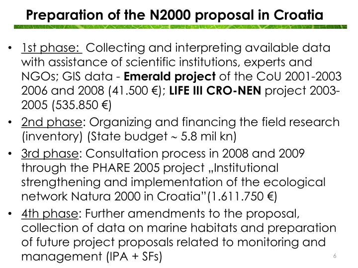 Preparation of the N2000 proposal in Croatia