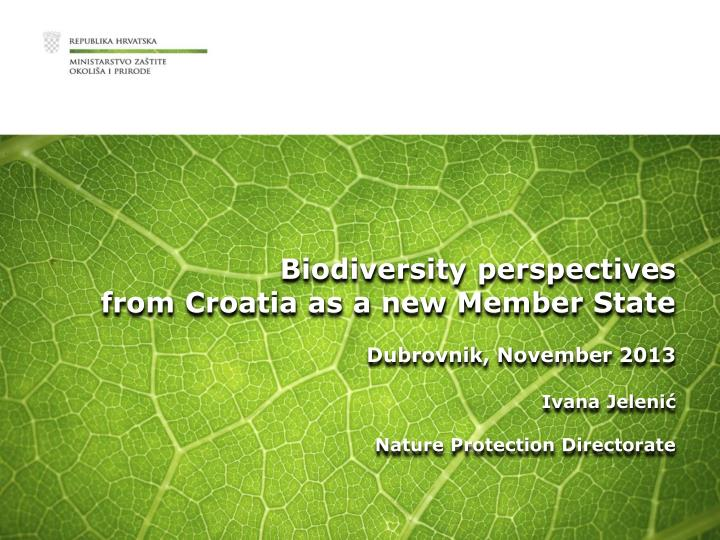 Biodiversity perspectives