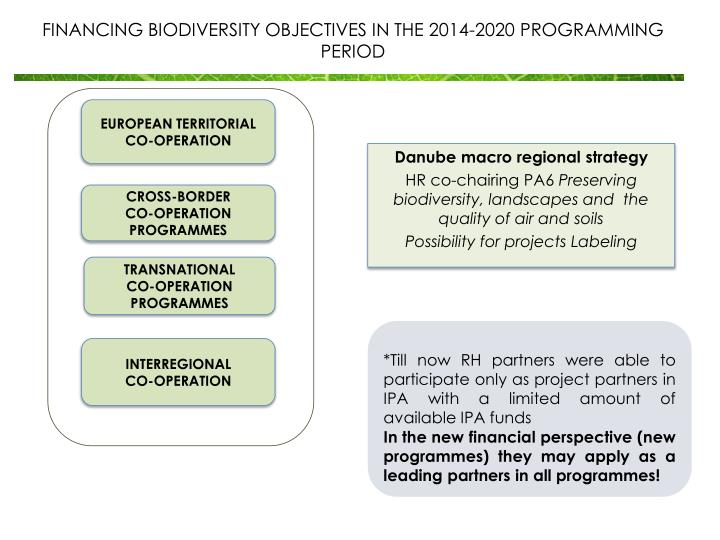 FINANCING BIODIVERSITY OBJECTIVES IN THE 2014-2020 PROGRAMMING PERIOD