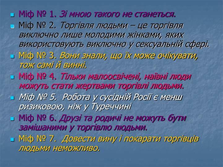 Міф № 1.