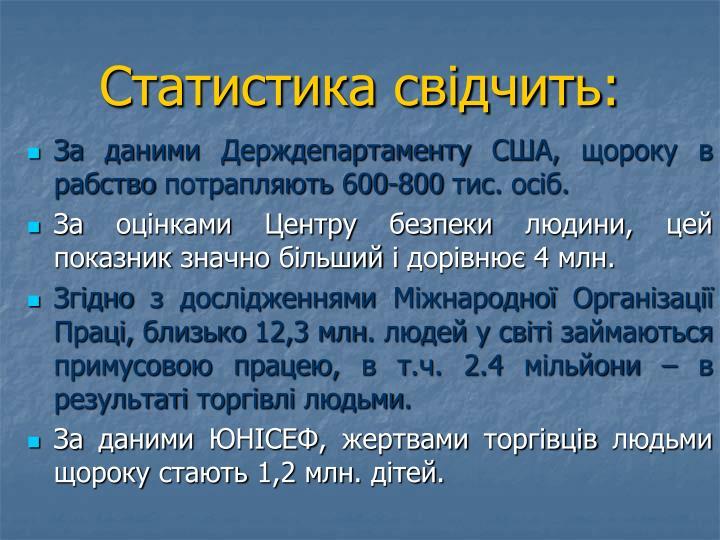 Статистика свідчить: