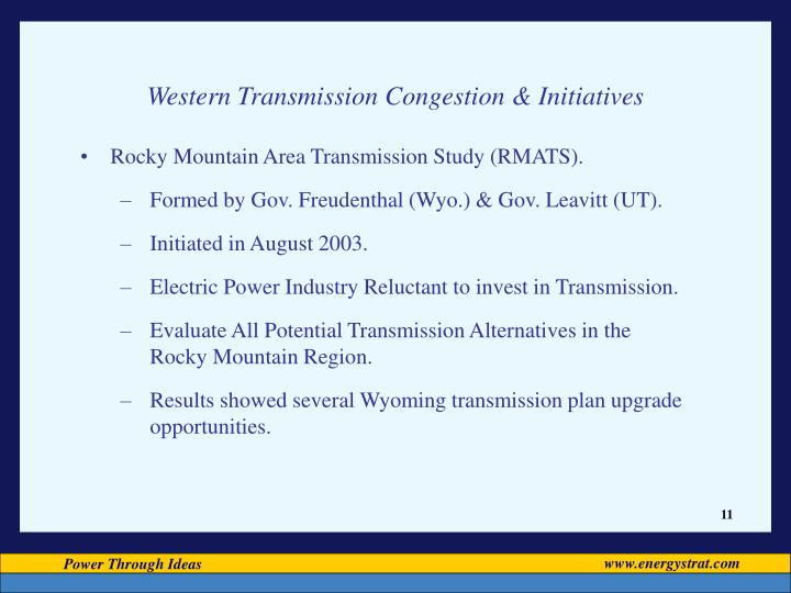 Western Transmission Congestion & Initiatives