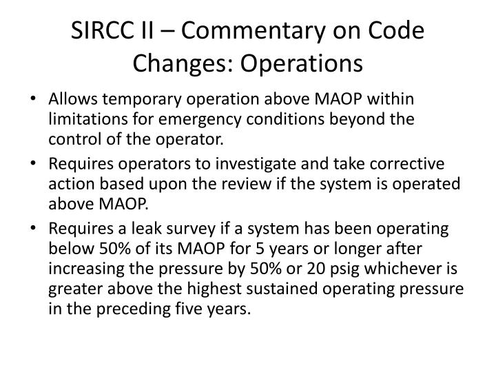 SIRCC II – Commentary on Code Changes: Operations